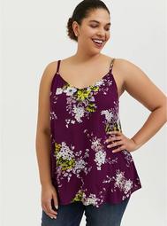 Sophie - Plum Purple Floral Crinkle Gauze Swing Cami