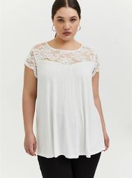 Super Soft White Lace Sleeve Top
