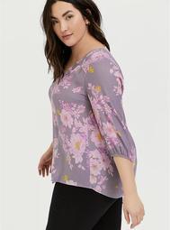 Slate Grey & Purple Floral Crepe Smocked Blouse