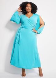 Belted Open Sleeve Wrap Maxi Dress