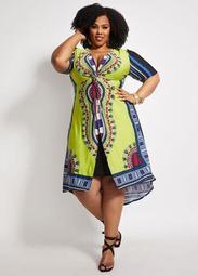 Dashiki Mock Wrap Overlay Dress