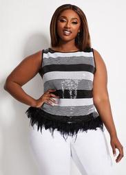 Sequin Stripe Feather Hem Top