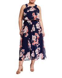 Plus Size Puff Chiffon Halter-Neck Maxi Dress
