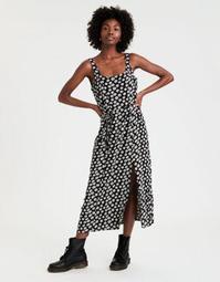 Printed Scoop Neck Midi Dress