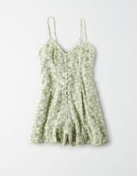 AE Embroidered Button Front Romper