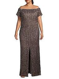 Plus Embellished Front-Slit Gown