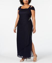 Plus Size Embellished Cold-Shoulder Gown