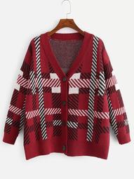 Plus Single-breasted Plaid Knit Coat