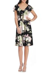 Floral Print Chiffon Cocktail Dress