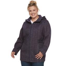 Plus Size d.e.t.a.i.l.s Hooded Fleece Midweight Jacket