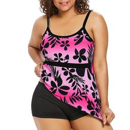 Tuscom Women Plus Size Floral Print Adjustable Strap High Cup Low Back Two-piece Swimwear Swimsuit Bathing Suit