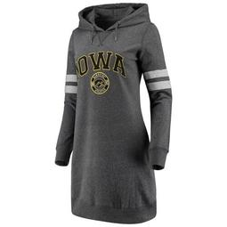 Women's Heathered Gray Iowa Hawkeyes Pressbox Hooded Sweatshirt Dress