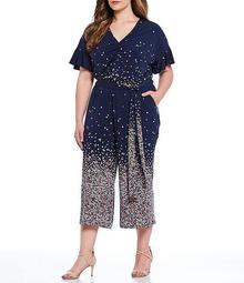 MICHAEL Michael Kors Plus Size Ombre Dainty Bloom Print Lux Matte Jersey V-Neck Flutter Sleeve Crop Jumpsuit