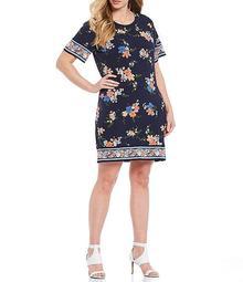 MICHAEL Michael Kors Plus Size Blooming Bouquet Border Print Lux Matte Jersey Short Sleeve Shift Dress
