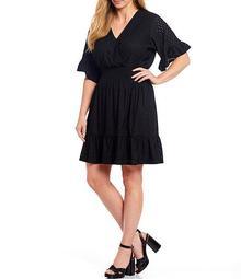 MICHAEL Michael Kors Plus Size Knit Eyelet Jacquard V-Neck Flounce Sleeve Smocked Waist Dress