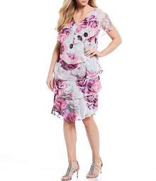 Plus Size Tiered Floral Print Metallic Chiffon Dress