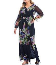 Plus Size Chiffon Floral Print Long Sleeve Side Slit Maxi Dress