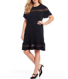 MICHAEL Michael Kors Plus Size Solid Crepe Jersey Mesh Inset A-Line Dress