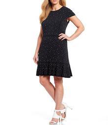 MICHAEL Michael Kors Plus Size Dotted Print Lux Matte Jersey Stud Embellished Short Sleeve Flounce Hem Dress