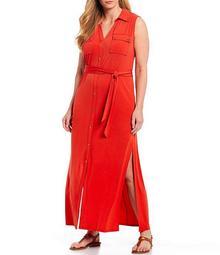 MICHAEL Michael Kors Plus Size Lux Matte Jersey Sleeveless Side Slits Maxi Shirt Dress