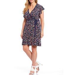 MICHAEL Michael Kors Plus Size Garden Patch Print Lux Matte Jersey Faux Wrap V-Neck Flutter Sleeve Dress