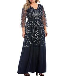 Plus Size Metallic Embroidered Beaded 3/4 Sleeve A-Line Gown