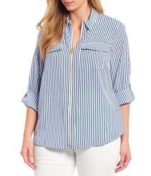 MICHAEL Michael Kors Plus Size Pebble Crepe Railroad Stripe Print Roll-Tab Sleeve Zip Front Top