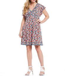 MICHAEL Michael Kors Plus Size Hothouse Floral Border Print Lux Matte Jersey Flutter Cap Sleeve Dress
