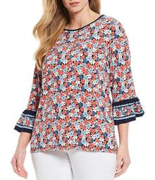 MICHAEL Michael Kors Plus Size Hothouse Floral Print Lux Matte Jersey 3/4 Bell Sleeve Top