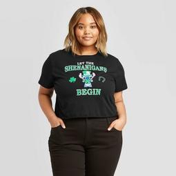 Women's Disney St. Patrick's Day Stitch Shenanigan Plus Size Short Sleeve Cropped T-Shirt (Juniors') - Black