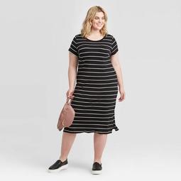 Women's Plus Size Striped Short Sleeve T-Shirt Dress - Ava & Viv™ Black/White