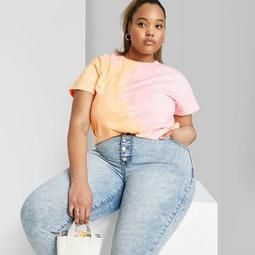 Women's Plus Size Short Sleeve Crewneck Tie-Dye Relaxed T-Shirt - Wild Fable™ Pink