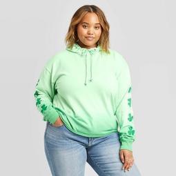 Women's St. Patrick's Day Clover Plus Size Dip Dye Hoodie - Doe (Juniors') - Green