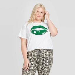 Women's Plus Size St. Patrick's Day Lips With Clover Short Sleeve Cropped T-Shirt - Modern Lux (Juniors') - White
