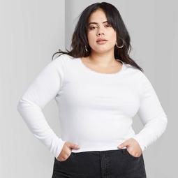 Women's Plus Size Long Sleeve Crewneck Lace Trim T-shirt - Wild Fable™ White