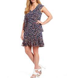 MICHAEL Michael Kors Plus Size Garden Patch Print Lux Matte Jersey V-Neck Cap Sleeve Cascade Ruffle Dress