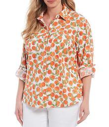 Plus Size Zoey Cotton Slub Tossed Oranges Print Roll-Tab Sleeve Button Down Shirt
