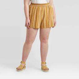 Women's Plus Size Striped Mid-Rise Pull On Shorts - Universal Thread™ Yellow
