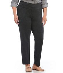Plus Size Solid Double Knit Tummy Control Heathered Straight Leg Pants