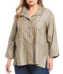 Plus Size Mixed Stripe Button Front Top