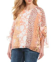 Plus Size Floral Animal Print Ruffle 3/4 Sleeve Top