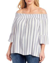 Plus Size Stripe Smocked Off-The-Shoulder Ruffle Sleeve Top
