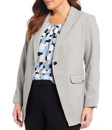 Plus Size Stretch Twill One-Button Front Jacket