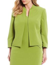 Plus Size Crepe Stand Collar Open Front Jacket