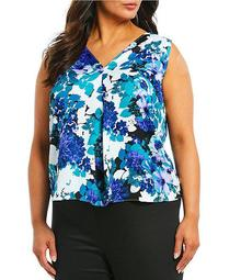 Plus Size Floral Print V-Neck Pleat Front Sleeveless Top