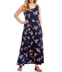 MICHAEL Michael Kors Plus Size Blooming Bouquet Print Lux Matte Jersey Scoop Neck Sleeveless Maxi Dress