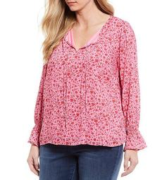 Plus Size Sassie Wild Orchid Simple Floral Print Tie Neck Detail Long Sleeve Smock Cuff Detail Top