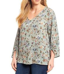 Plus Size Floral Print V-Neck Ruched Sleeve Detail Top