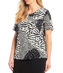 Plus Size Animal Print Matte Jersey Pleat Neck Short Sleeve Top