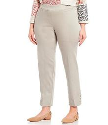 Plus Size Pull-On Solid Straight Hem Button Detail Ankle Pants